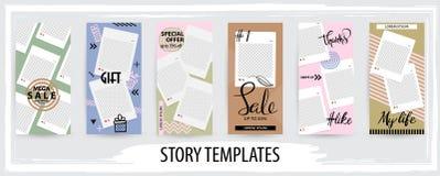 Molde editável na moda para histórias sociais das redes, ilustração do vetor ilustração stock