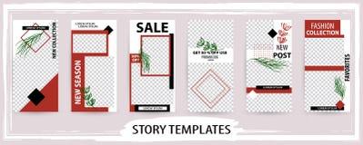 Molde editável na moda para histórias sociais das redes, vec do inverno ilustração stock