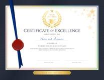 Molde elegante do certificado para a excelência, realização, apprec ilustração stock