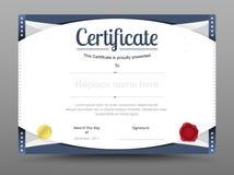 Molde elegante do certificado Tema formal do certificado do negócio Fotos de Stock Royalty Free