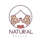 Molde esboçado desenhos animados tirado do projeto do sinal do salão de beleza mão natural com a mulher estilizado no fundo flora ilustração stock