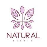 Molde esboçado desenhos animados tirado do projeto do sinal do salão de beleza mão natural com Violet Butterfly floral estilizado ilustração royalty free