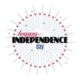 Molde feliz da rotulação do Dia da Independência Fotos de Stock Royalty Free