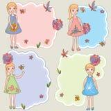 Molde feminino do cartão do espaço da menina da criança Fotos de Stock Royalty Free
