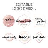Molde feminino editável do projeto do logotipo ilustração royalty free