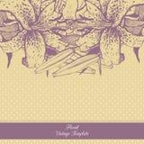 Molde floral do vintage lírios Imagens de Stock Royalty Free