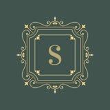 Molde floral elegante do projeto do logotipo do monograma Fotos de Stock Royalty Free