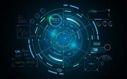 Molde futurista do conceito dos trabalhos em rede da tecnologia do GUI da relação de Hud ilustração royalty free