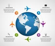Molde global abstrato do projeto do infographics do avião Fotos de Stock