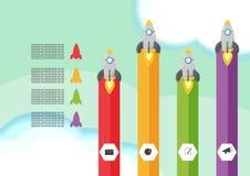 Molde gráfico da apresentação de Rocket Info ilustração royalty free