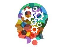 Molde gráfico da ilustração colorida do vetor da apresentação da cabeça da engrenagem do espectro do arco-íris isolado no fundo b Imagens de Stock Royalty Free