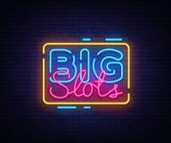 Molde grande do projeto do vetor do sinal dos entalhes Logotipo de néon do casino, tendência colorida do projeto moderno do eleme ilustração royalty free