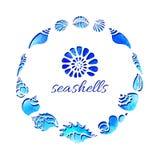 molde Grupo de silhuetas de shell do mar no círculo Mundo submarino Vetor Imagem de Stock Royalty Free