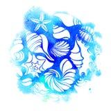 molde Grupo de silhuetas de shell do mar Vetor Imagem de Stock Royalty Free