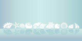 molde Grupo de silhuetas de shell do mar Vetor Fotografia de Stock