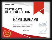 Molde horizontal do certificado, diploma, tamanho da letra, vetor Imagens de Stock