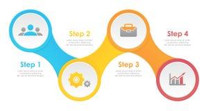 Molde infographic com 4 elementos, etapas, opções, porções ou processos Imagens de Stock