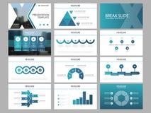 Molde infographic da apresentação dos elementos do pacote azul do triângulo informe anual do negócio, folheto, folheto, inseto de ilustração royalty free