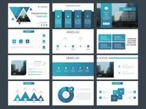 Molde infographic da apresentação dos elementos do pacote azul do triângulo informe anual do negócio, folheto, folheto, inseto de ilustração do vetor