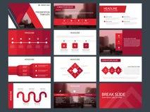 Molde infographic da apresentação dos elementos do pacote vermelho do triângulo informe anual do negócio, folheto, folheto, inset ilustração do vetor