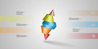 molde infographic da ilustração 3D com o cone cravado cortado a cinco porções e arranjado obliquamente ilustração stock
