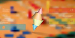 molde infographic da ilustração 3D com o cone cravado cortado a quatro porções e arranjado obliquamente ilustração do vetor