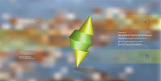 molde infographic da ilustração 3D com o cone cravado cortado a três porções e arranjado obliquamente ilustração stock