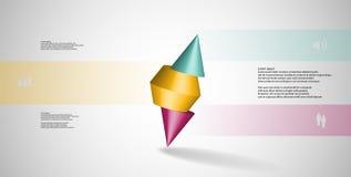 molde infographic da ilustração 3D com o cone cravado cortado a três porções e arranjado obliquamente ilustração do vetor