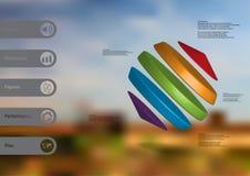 molde infographic da ilustração 3D com os cilindros entre dois cones arranjados obliquamente ilustração stock