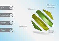 molde infographic da ilustração 3D com os cilindros entre dois cones arranjados obliquamente ilustração do vetor