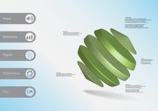 molde infographic da ilustração 3D com os cilindros entre dois cones arranjados obliquamente ilustração royalty free
