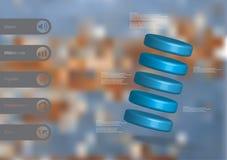 molde infographic da ilustração 3D com os cinco cilindros arranjados obliquamente ilustração royalty free
