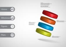 molde infographic da ilustração 3D com os quatro cilindros arranjados obliquamente ilustração stock
