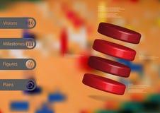 molde infographic da ilustração 3D com os quatro cilindros arranjados obliquamente ilustração do vetor