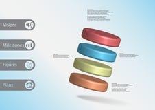 molde infographic da ilustração 3D com os quatro cilindros arranjados obliquamente ilustração royalty free