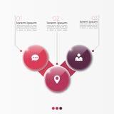 Molde infographic da opção do vetor 3 com círculos Imagens de Stock Royalty Free