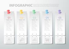 molde infographic de 5 etapas pode ser usado para trabalhos, disposição, diagrama Fotos de Stock