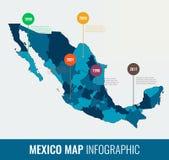 Molde infographic do mapa de México Todas as regiões são selecionáveis Vetor Fotos de Stock Royalty Free