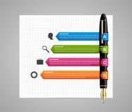 molde infographic do projeto do negócio Pena colorida da tinta Fotografia de Stock Royalty Free