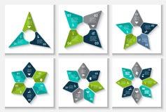 Molde infographic do projeto do vetor Conceito do negócio com 3, 4, 5, 6, 7 e 8 opções, porções, etapas ou processos Foto de Stock