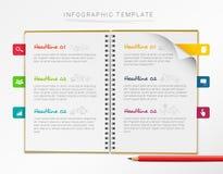 Molde infographic do vetor com o caderno e as seis marcas coloridas isolados no fundo branco ilustração do vetor