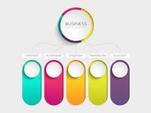 Molde infographic moderno do sumário 3D com cinco etapas para o sucesso Molde do círculo de negócio com opções para o folheto, di ilustração royalty free