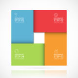 Molde infographic quadrado do vetor no estilo material Conceito do negócio com 4 etapas, peças, opções ilustração stock
