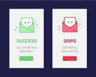 Molde instantâneo do vetor das mensagens para o sucesso e a falha Ilustração feliz e triste do vetor do e-mail para a bandeira, a ilustração stock
