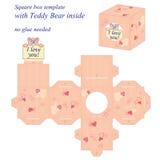 Molde interessante da caixa quadrada com Teddy Bear bonito para dentro, guardando a nota eu te amo Ilustração do Vetor