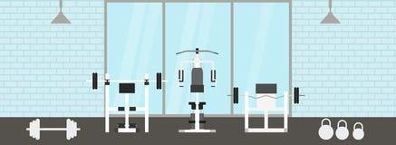 Molde interior do gym da aptidão com equipamentos de esportes e cardio- equipamento, bicicleta de exercício, escadas rolantes, el ilustração stock