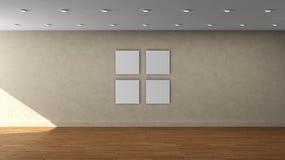Molde interior vazio da parede bege de alta resolução com quadro do quadrado da cor de 4 brancos na parede dianteira fotos de stock