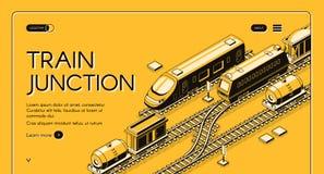 Molde isométrico do Web site do vetor da junção de estrada de ferro ilustração stock