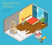 Molde isométrico liso da Web 3d da empresa de serviços home da renovação Fotos de Stock Royalty Free