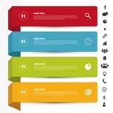 Molde limpo das bandeiras do projeto Vetor de Infographics com ícones Fotografia de Stock Royalty Free